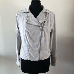 H by HALSTON   Heather Grey Jersey Moto Jacket 12